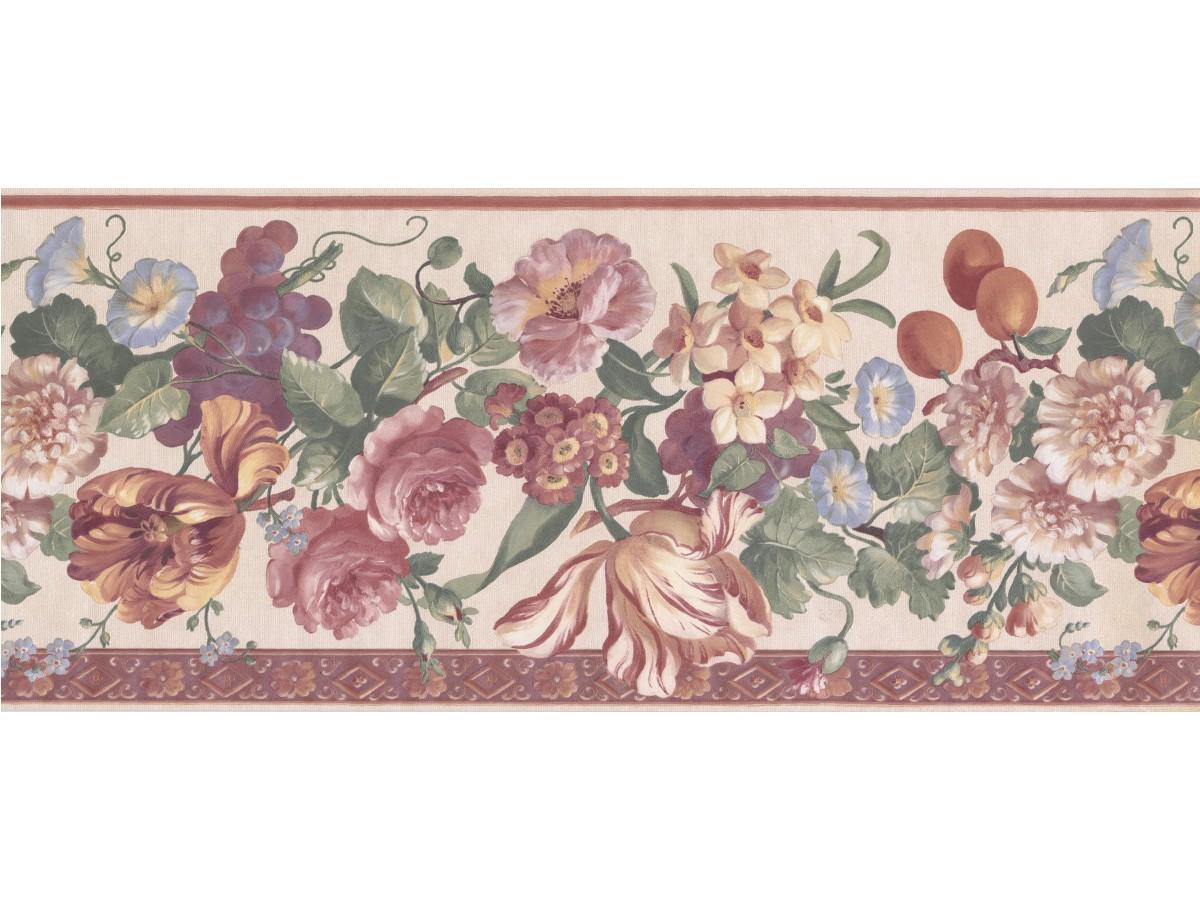 Beige Floral Wallpaper Border
