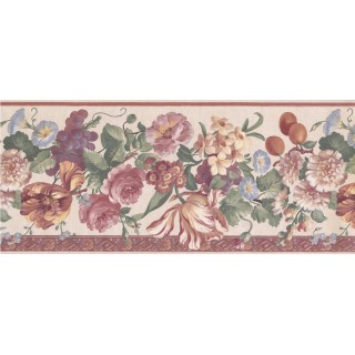 10 1/4 in x 15 ft Prepasted Wallpaper Borders - Beige Floral Wall Paper Border
