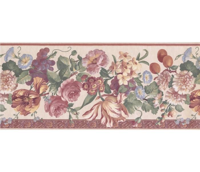 Floral Wallpaper Borders: Beige Floral Wallpaper Border