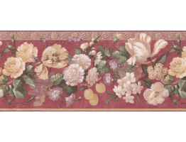 10 in x 15 ft Prepasted Wallpaper Borders - Red Gold Molding Grapes Peaches Floral Wall Paper Border