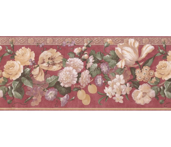 Garden Wallpaper Borders: Red Gold Molding Grapes Peaches Floral Wallpaper Border