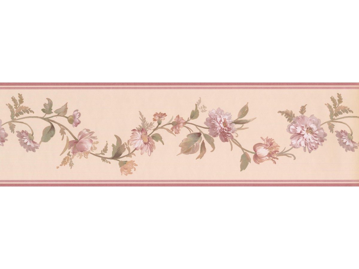Pink White Elegant Floral Wallpaper Border