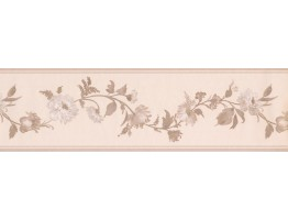 Prepasted Wallpaper Borders - Taupe Satin Floral Wall Paper Border