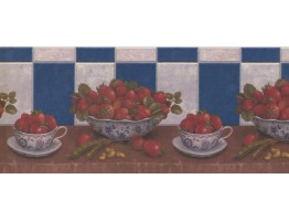 Prepasted Wallpaper Borders - Blue Strawberries Beans Peanuts Wall Paper Border