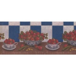 10 1/4 in x 15 ft Prepasted Wallpaper Borders - Blue Strawberries Beans Peanuts Wall Paper Border