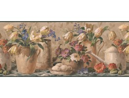Prepasted Wallpaper Borders - Yellow Tulip Waterpot Wall Paper Border
