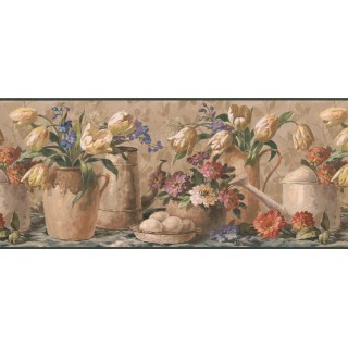 10 in x 15 ft Prepasted Wallpaper Borders - Yellow Tulip Waterpot Wall Paper Border