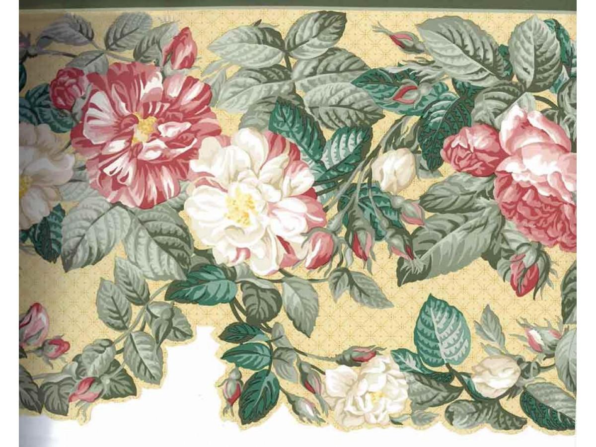 Red White Daisy Flower Wallpaper Border