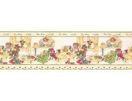 Prepasted Wallpaper Borders - Green Yellow Tea Time Toys Wall Paper Border