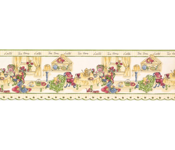 Clearance: Green Yellow Tea Time Toys Wallpaper Border