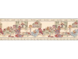 Teal Green Tea Time Toys Wallpaper Border