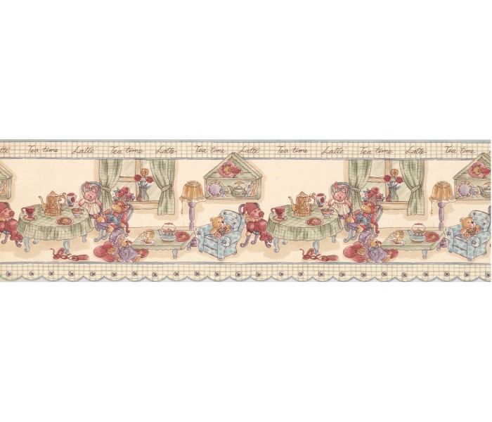 Clearance: Teal Green Tea Time Toys Wallpaper Border