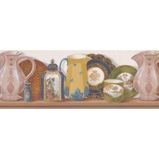 10 in x 15 ft Prepasted Wallpaper Borders - Pink Printed Jar Plates Wall Paper Border