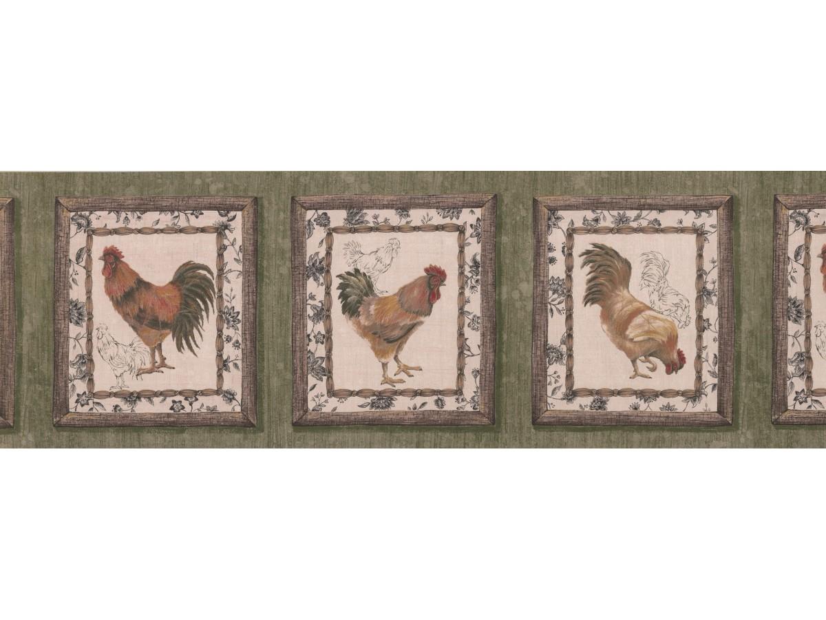 Dark Brown Framed Rooster Wallpaper Border