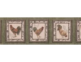Prepasted Wallpaper Borders - Dark Brown Framed Rooster Wall Paper Border