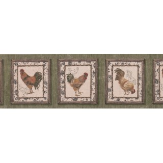 8 in x 15 ft Prepasted Wallpaper Borders - Dark Brown Framed Rooster Wall Paper Border