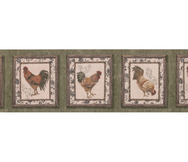 Roosters Wallpaper Borders: Dark Brown Framed Rooster Wallpaper Border