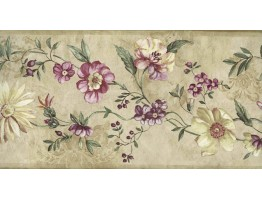 7 in x 15 ft Prepasted Wallpaper Borders - Pink Little Flowers Wall Paper Border