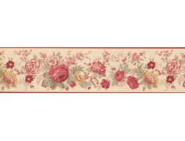 Prepasted Wallpaper Borders - Red Rose 5507100B Wall Paper Border