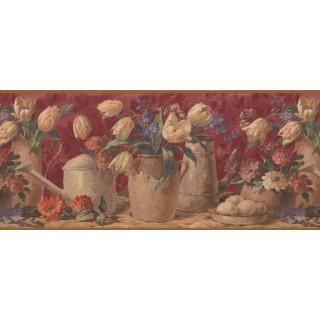 10 in x 15 ft Prepasted Wallpaper Borders - Tulip Flower Wall Paper Border 5507150