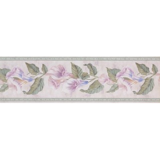 7 in x 15 ft Prepasted Wallpaper Borders - Green Pink Calla Lilly Vines Wall Paper Border