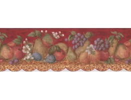 Prepasted Wallpaper Borders - Tropical Fruits on Maroon Background Wall Paper Border