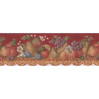 8 in x 15 ft Prepasted Wallpaper Borders - Tropical Fruits on Maroon Background Wall Paper Border