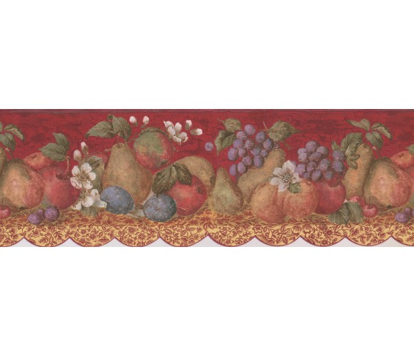 Garden Wallpaper Borders: Tropical Fruits on Maroon Background Wallpaper Border