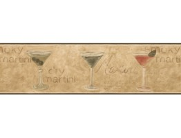 Dark Green Glassed Martini Wallpaper Border