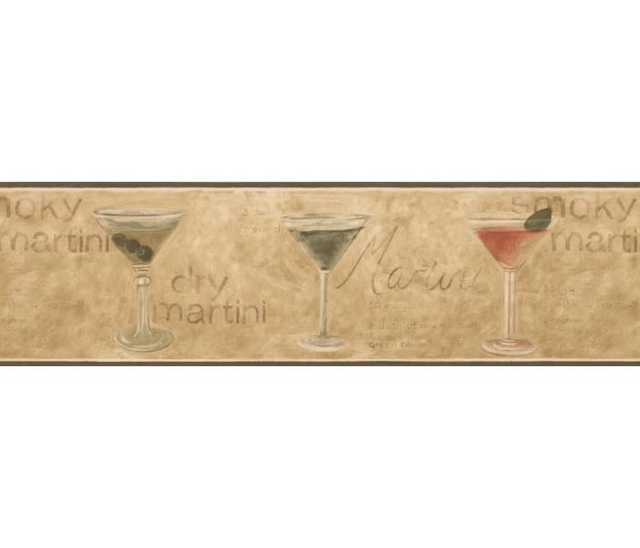 Kitchen Wallpaper Borders: Dark Green Glassed Martini Wallpaper Border