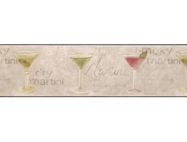 Prepasted Wallpaper Borders - Green Martini Wall Paper Border