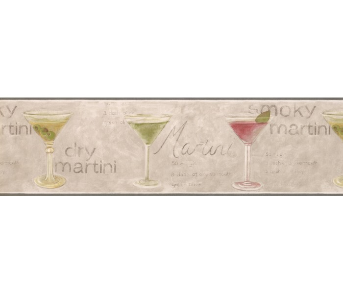 Clearance: Green Martini Wallpaper Border