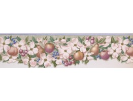 Prepasted Wallpaper Borders - Apple Peach Berries Wall Paper Border