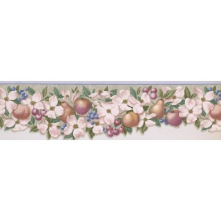 7 in x 15 ft Prepasted Wallpaper Borders - Apple Peach Berries Wall Paper Border