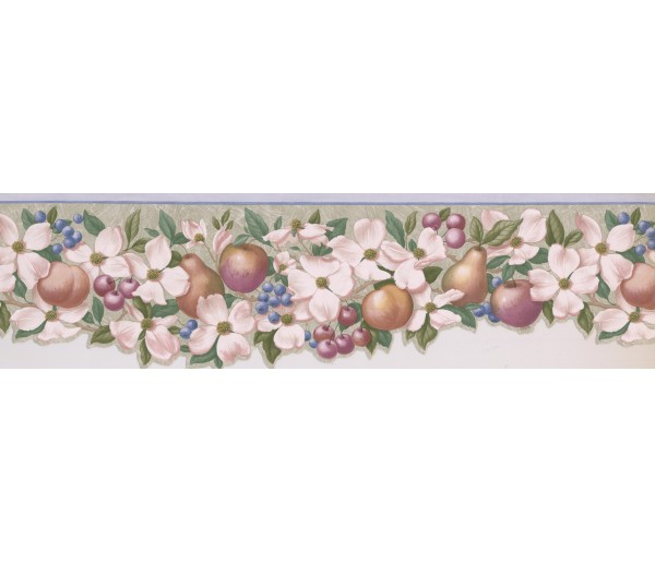 Garden Borders Apple Peach Berries Wallpaper Border