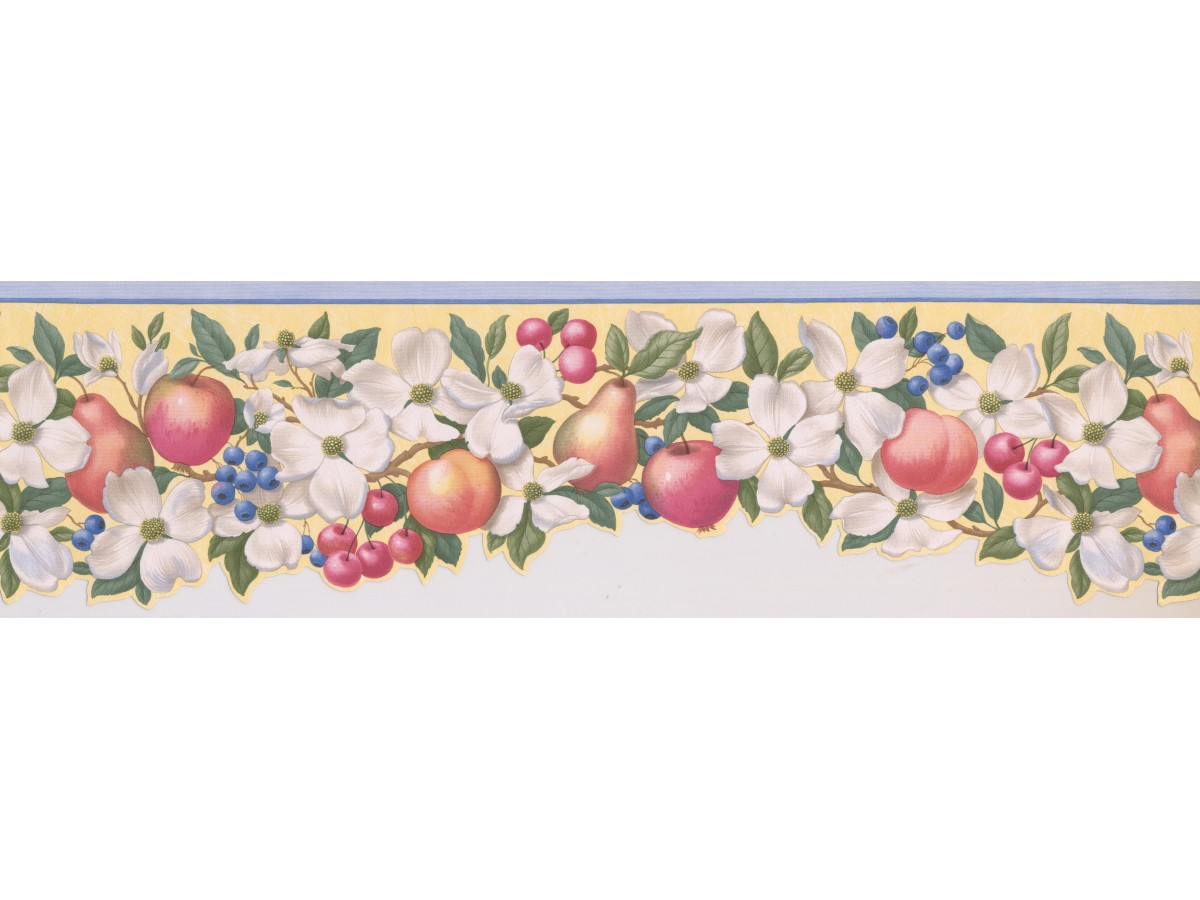 Light Blue Fruit Scalloped Wallpaper Border