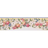 Garden Wallpaper Borders: Light Blue Fruit Scalloped Wallpaper Border