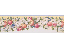 15 ft Prepasted Wallpaper Borders - Light Blue Fruit Scalloped Wall Paper Border