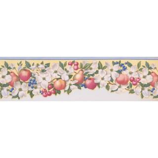 15 ft Prepasted Wallpaper Borders - Light Blue Fruit Scalloped Wall Paper Border