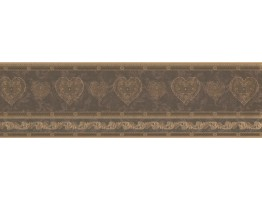 Prepasted Wallpaper Borders - Gold Scrolls Molding HEARTS Wall Paper Border