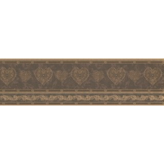 7 in x 15 ft Prepasted Wallpaper Borders - Gold Scrolls Molding HEARTS Wall Paper Border