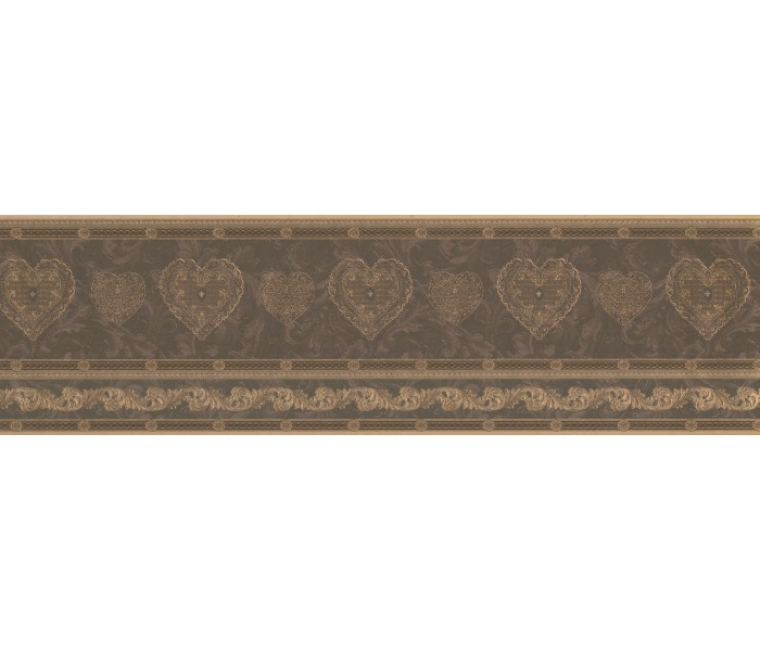 Vintage Wallpaper Borders: Gold Scrolls Molding HEARTS Wallpaper Border