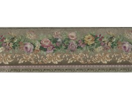 Golden Floral Roses Wallpaper Border