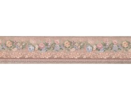 5 in x 15 ft Prepasted Wallpaper Borders - Pink Blue Flower Wall Paper Border