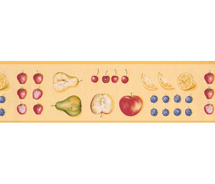 Clearance: Yellow Strawberry Apples Wallpaper Border