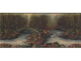 Green Woods River Lodge Wallpaper Border