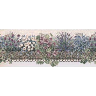 8 1/2 in x 15 ft Prepasted Wallpaper Borders - White SUMMER Flowers Wall Paper Border 5803652