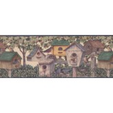 Bird Houses Wallpaper Borders: Brown Green Bird Houses Wallpaper Border