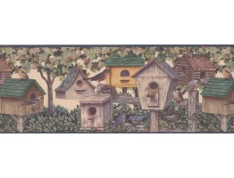 Prepasted Wallpaper Borders - Brown Green Bird Houses Wall Paper Border