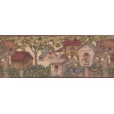 Bird Houses Wallpaper Borders: Brown Birdhouses 5804261B Wallpaper Border